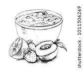 oatmeal breakfast with berries...   Shutterstock .eps vector #1011506269