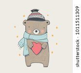 cute winter teddy bear hand... | Shutterstock .eps vector #1011511309