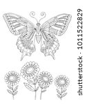 butterfly and sunflowers. hand... | Shutterstock .eps vector #1011522829