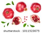 pomegranate with leaves... | Shutterstock . vector #1011523075