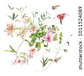watercolor painting of leaves...   Shutterstock . vector #1011524089