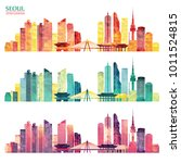 seoul detailed skyline. travel... | Shutterstock .eps vector #1011524815