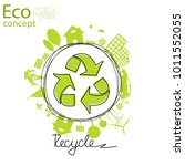 triangular recycling symbol on... | Shutterstock .eps vector #1011552055