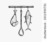 hanging kitchen food vector... | Shutterstock .eps vector #1011554731