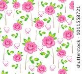 seamless pattern. pink flowers  ... | Shutterstock .eps vector #1011558721