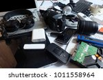 pile of used electronic waste... | Shutterstock . vector #1011558964