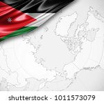 jordan flag of silk  and world... | Shutterstock . vector #1011573079