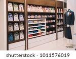 storefront  shelves in a men's... | Shutterstock . vector #1011576019