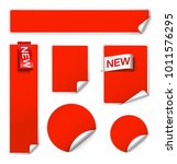 set of realistic curled labels...   Shutterstock .eps vector #1011576295