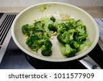 green broccoli and cashew in a... | Shutterstock . vector #1011577909