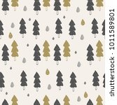 seamless pattern with trees.... | Shutterstock .eps vector #1011589801