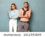 fashion girl and guy in outlet ... | Shutterstock . vector #1011592849