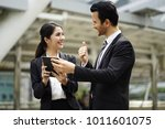 the happy business man and... | Shutterstock . vector #1011601075