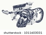 bearded man  guitar and audio... | Shutterstock .eps vector #1011603031