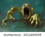 fantastic green creature on the ... | Shutterstock . vector #1011604249