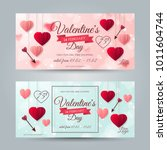 set of romantic gift vouchers... | Shutterstock .eps vector #1011604744