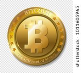 realistic 3d golden bitcoin... | Shutterstock .eps vector #1011605965