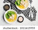 fresh homemade chicken soup... | Shutterstock . vector #1011615955