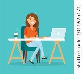freelancer at work  working...   Shutterstock . vector #1011625171