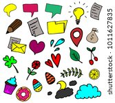 colorful sketchy icons set on... | Shutterstock .eps vector #1011627835