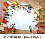 top view of kids toys on floor... | Shutterstock . vector #1011630079