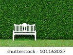 White Bench With  The  Bush...