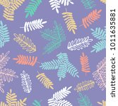 seamless pattern with twigs.... | Shutterstock .eps vector #1011635881