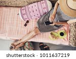 young woman on vacations using... | Shutterstock . vector #1011637219