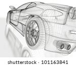 3d Sports Car Model On A White...