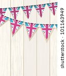 union jack bunting flags on a... | Shutterstock .eps vector #101163949