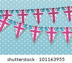 union jack bunting on a blue... | Shutterstock .eps vector #101163955