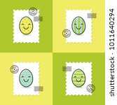 set of postage stamp with...   Shutterstock .eps vector #1011640294