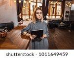 receptionist standing at... | Shutterstock . vector #1011649459
