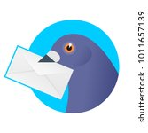 a post pigeon with an envelope... | Shutterstock .eps vector #1011657139
