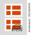 denmark flag on postage stamps | Shutterstock .eps vector #1011663241