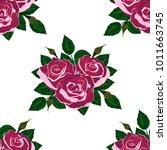 seamless wallpaper pink roses    Shutterstock .eps vector #1011663745