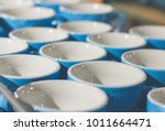 blue coffee cup in rows.cup...