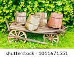 Old Cart With Wooden Barrels