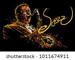 jazz saxophone player. vector... | Shutterstock .eps vector #1011674911
