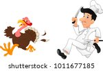 cartoon chef chasing a turkey | Shutterstock . vector #1011677185
