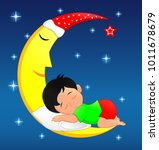 cute little boy sleeping on moon | Shutterstock .eps vector #1011678679