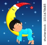 cute little boy sleeping on moon | Shutterstock . vector #1011678685