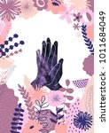 palm to palm with pink flowers  ... | Shutterstock . vector #1011684049