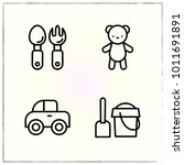 toy line icons set sand and... | Shutterstock .eps vector #1011691891