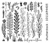 set of black and white doodle... | Shutterstock .eps vector #1011694405