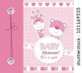 vector baby girl scrapbook card | Shutterstock .eps vector #101169535
