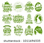 happy easter set. stylized ... | Shutterstock .eps vector #1011696535
