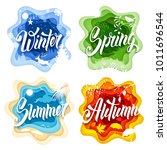 labels set in paper art style... | Shutterstock .eps vector #1011696544
