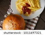 tasty fast food burger with... | Shutterstock . vector #1011697321
