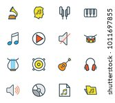 multimedia icons colored line... | Shutterstock .eps vector #1011697855